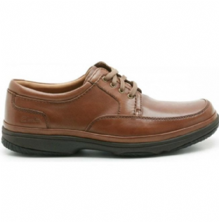 Clarks Mens Swift Mile Mahogany Leather Shoes